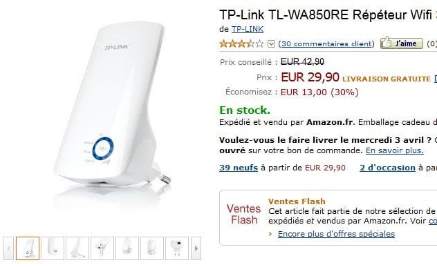 vente flash repeteur wifi moins de 30 euros. Black Bedroom Furniture Sets. Home Design Ideas