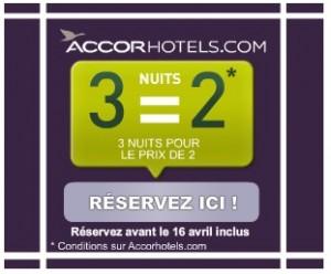 3 nuits pour le prix de 2 dans un hotel Accor