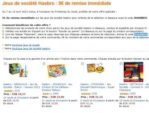 5 euros de réduc immédiate jeux Hasbro