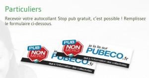 Autocollant Stop pub gratuit