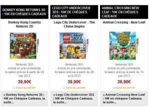 Bonus Precommande jeu 3DS 10 euros en cheque cadeau