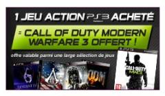 1 jeu PS3 acheté = Call of Duty MW3 gratuit