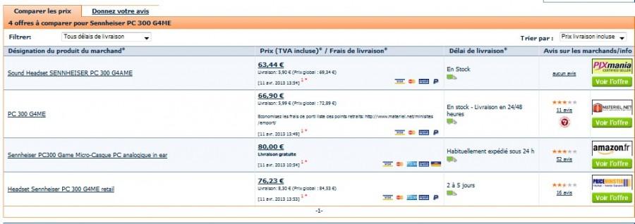 Comparatif prix ecouteurs Sennheiser PC 300 G4ME