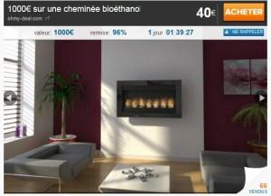 Deal cheminée bioéthanol 168 euros (port inclus) au lieu de plus de 1000 euros