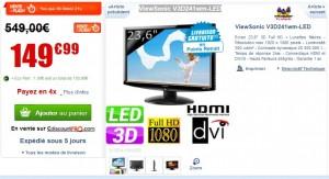 """FLASH : Moins de 150 euros écran 3D 23,6"""" Full HD + Lunettes ViewSonic"""