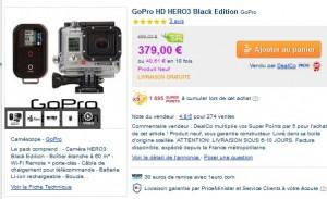 GoPro HD HERO3 Black Edition 379 euros + 3032 SP