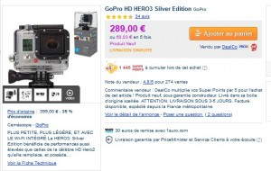 GoPro HD HERO3 Silver Edition 289 euros + 2312 SP