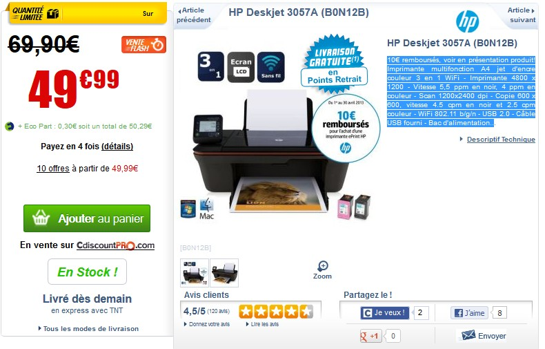 moins de 40 euros imprimante multifonction wi fi hp deskjet 3057a. Black Bedroom Furniture Sets. Home Design Ideas