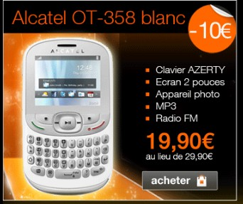 moins de 20 euros l alcatel ot 358 blanc sans abonnement mobicarte. Black Bedroom Furniture Sets. Home Design Ideas