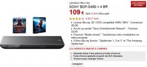 PROMO : Lecteur Blu-ray 3D  Sony + 4 blu-ray gratuits à 109 euros (port inclus)
