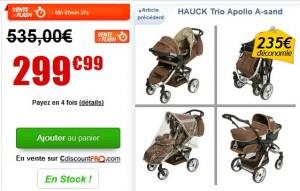 Poussette Combinée Hauck Trio Apollo à 299 euros