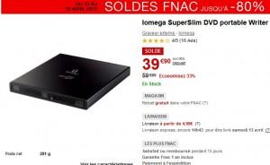 Soldes 39,90 euros le graveur DVD portable Iomega
