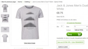 Moins de 8 euros le T-Shirt Jack & Jones (livraison gratuite)