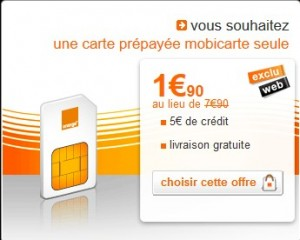 vente flash de carte prépayée Mobicarte à seulement 1,90 euros au lieu de 7,90 euros