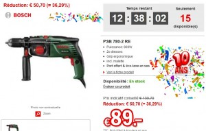 Vente Flash Perceuse percussion Bosch à 89 euros (port inclus)