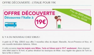 Vente flash iDBUS ! 19 euros France - Italie en Bus