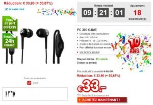 Vente flash 33 euros casque- ecouteurs Sennheiser PC 300 G4ME