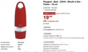 Vente flash Moulin a sel Peugeot Zest