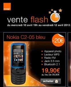 Vente flash Nokia C2-05  moins de 20 euros
