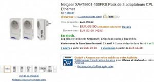 Vente flash lot 3 CPL Netgear 500mbits/s Nano à 69,90 euros