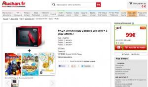 Wii mini et 3 jeux moins de 100 euros Auchan
