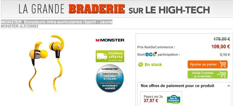 Ecouteurs intra auriculaires monster isport 56 99 euros - Code promo rue du commerce frais de port gratuit ...