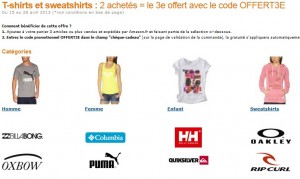 2 T-shirt achetés = le 3eme gratuit (code promo Amazon)