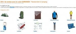 Code Promo ! Moins 20% sur Randonnée & Camping Amazon