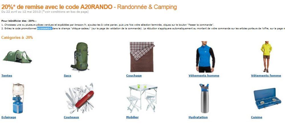 Code promo 20 de remise sur mat riel rando et camping amazon - Code promo amazon frais de port gratuit ...