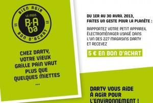 Bon d'achat de 5 euros Darty contre un appareil électroménager qui ne marche pas