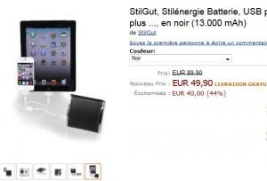 Moins de 50 euros Batterie externe USB 13.000mAh StilGut