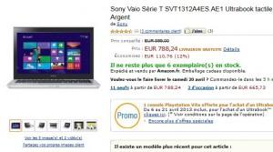 Moins de 790 euros Ultrabook Sony Vaio Série T + Console Playstation Vita