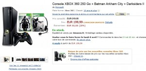 Xbox 360 250Go avec deux jeux vidéo pour 199,99 euros (port inclus).