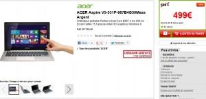 Promo ordinateur portable écran tactile ACER Aspire V5-531P