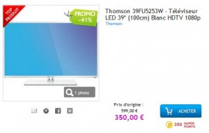 "Téléviseur 39""(100cm) LED Thomson Blanc à 375 euros (port inclus)"