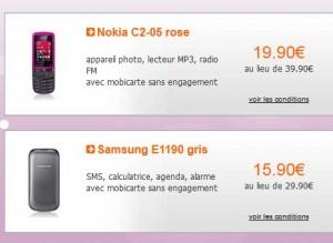 vente Telephones sans engagement a moins de 20 euros