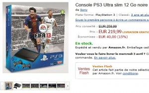 vente flash pack PS3 Ultra slim 12 Go + 2 manettes Dual Shock 3 + Fifa 2013
