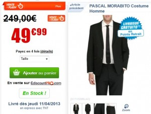 Vente flash 50 euros le Costume Homme