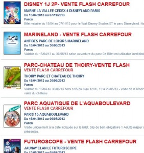 vente flash parc attraction Disney futuroscope marineland