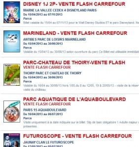vente flash parc attraction Disney futuroscope marineland