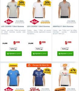 Vente flash T-shirts à moins 10 euros (Lee Cooper, Diesel, Longboard….)