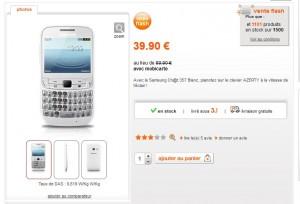 vente flash telephone sans engagement Samsung Chat 357