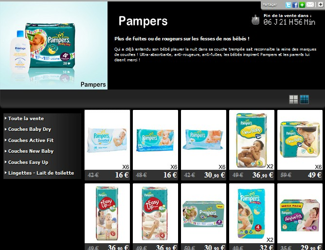 Vente priv e pampers chez private outlet - Bon de reduction couches pampers a imprimer ...