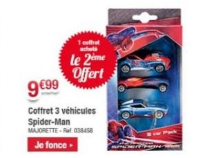 1 coffret 3 voitures Majorette Spiderman acheté = 1 gratuit.