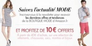 10 euros offerts Amazon (sélection Mode : vêtements, chaussures, Accessoires…)