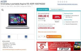 379 euros Ordinateur portable tactile Aspire ACER