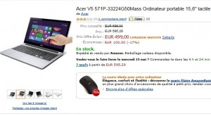 "499 euros ordinateur portable tactile 15,6"" Acer"