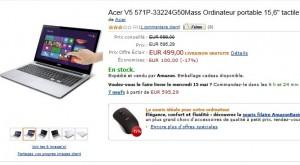 """499 euros ordinateur portable tactile 15,6"""" Acer"""