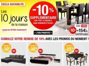 Auchan : code promo meubles et  literie
