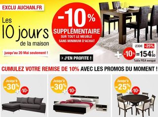 auchan code promo meubles et literie. Black Bedroom Furniture Sets. Home Design Ideas